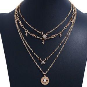 🆕4 Layer Gold Boho Star Choker Style Necklace